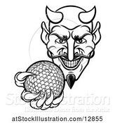 Vector Illustration of Black and White Grinning Evil Devil Holding out a Golf Ball in a Clawed Hand by AtStockIllustration