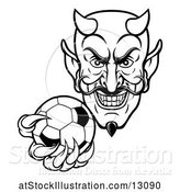 Vector Illustration of Black and White Grinning Evil Devil Holding out a Soccer Ball in a Clawed Hand by AtStockIllustration