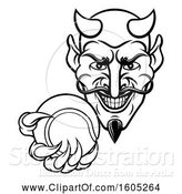 Vector Illustration of Black and White Grinning Evil Devil Holding out a Tennis Ball in a Clawed Hand by AtStockIllustration