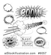 Vector Illustration of Black and White Halftone Comic Pop Art Design Elements by AtStockIllustration
