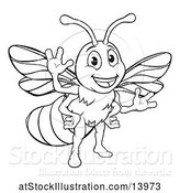 Vector Illustration of Black and White Happy Friendly Bee Mascot Waving by AtStockIllustration