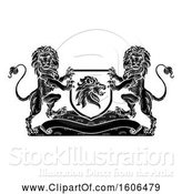 Vector Illustration of Black and White Heraldic Lions Coat of Arms Crest by AtStockIllustration