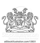Vector Illustration of Black and White Heraldic Lions Coat of Arms Crest with a Knights Great Helm Helmet by AtStockIllustration