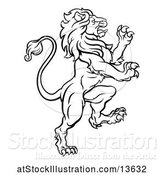 Vector Illustration of Black and White Heraldic Rampant Lion by AtStockIllustration