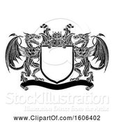 Vector Illustration of Black and White Heraldic Shield with Dragons and Knights Great Helm by AtStockIllustration