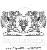 Vector Illustration of Black and White Heraldic Shield with Dragons by AtStockIllustration