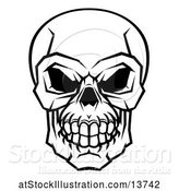 Vector Illustration of Black and White Human Skull by AtStockIllustration