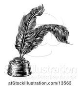 Vector Illustration of Black and White Ink Well with Feather Quill Pens by AtStockIllustration