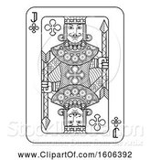 Vector Illustration of Black and White Jack of Clubs Playing Card by AtStockIllustration