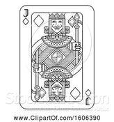 Vector Illustration of Black and White Jack of Diamonds Playing Card by AtStockIllustration
