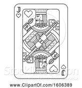 Vector Illustration of Black and White Jack of Hearts Playing Card by AtStockIllustration