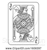 Vector Illustration of Black and White Jack of Spades Playing Card by AtStockIllustration