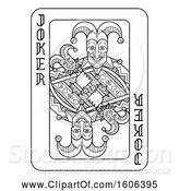 Vector Illustration of Black and White Joker Playing Card by AtStockIllustration