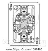 Vector Illustration of Black and White King of Clubs Playing Card by AtStockIllustration