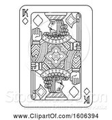 Vector Illustration of Black and White King of Diamonds Playing Card by AtStockIllustration