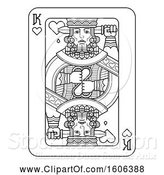 Vector Illustration of Black and White King of Hearts Playing Card by AtStockIllustration