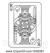 Vector Illustration of Black and White King of Spades Playing Card by AtStockIllustration