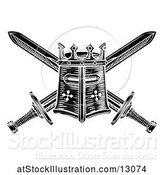 Vector Illustration of Black and White Knights Great Helm and Crossed Swords by AtStockIllustration