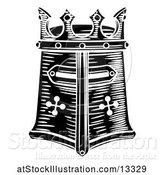 Vector Illustration of Black and White Knights Great Helm by AtStockIllustration