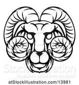 Vector Illustration of Black and White Lineart Aries Ram Astrology Zodiac Horoscope by AtStockIllustration