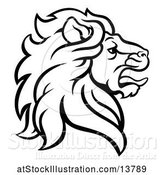 Vector Illustration of Black and White Male Lion Coat of Arms Head by AtStockIllustration
