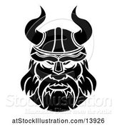 Vector Illustration of Black and White Male Viking Warrior Face by AtStockIllustration