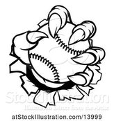 Vector Illustration of Black and White Monster Claw Holding a Baseball and Ripping Through a Wall by AtStockIllustration