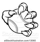 Vector Illustration of Black and White Monster Claw Holding a Baseball by AtStockIllustration