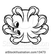 Vector Illustration of Black and White Monster Claw Holding a Bowling Ball by AtStockIllustration