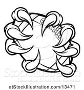Vector Illustration of Black and White Monster Claw Holding a Football by AtStockIllustration