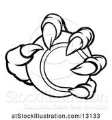 Vector Illustration of Black and White Monster Claw Holding a Tennis Ball by AtStockIllustration