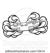 Vector Illustration of Black and White Monster Claws Playing with a Video Game Controller by AtStockIllustration