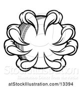 Vector Illustration of Black and White Monster or Eagle Claws Grabbing a Cricket Ball by AtStockIllustration