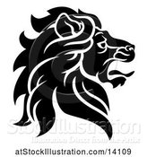 Vector Illustration of Black and White Noble Male Lion Head in Profile by AtStockIllustration