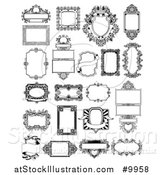 Vector Illustration of Black and White Ornate Vintage Frames by AtStockIllustration