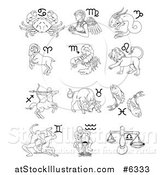 Vector Illustration of Black and White Outlined Astrology Zodiac Animals and Symbols by AtStockIllustration
