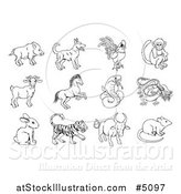 Vector Illustration of Black and White Outlined Chinese Zodiac Animals by AtStockIllustration