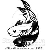 Vector Illustration of Black and White Pair of Fish by AtStockIllustration