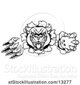 Vector Illustration of Black and White Panther Mascot Shredding Through a Wall with a Bowling Ball by AtStockIllustration