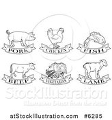 Vector Illustration of Black and White Pork, Chicken, Fish, Beef, Vegetarian and Lamb Animal and Food Designs by AtStockIllustration