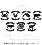 Vector Illustration of Black and White Premium Chicken, Beef, Pork, Lamb, Fish, Seafood and Vegetarian Food Labels 2 by AtStockIllustration