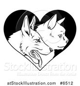 Vector Illustration of Black and White Profiled Cat and Dog Faces over a Heart by AtStockIllustration