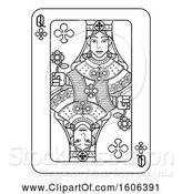 Vector Illustration of Black and White Queen of Clubs Playing Card by AtStockIllustration