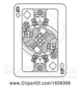 Vector Illustration of Black and White Queen of Diamonds Playing Card by AtStockIllustration