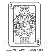 Vector Illustration of Black and White Queen of Hearts Playing Card by AtStockIllustration