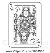 Vector Illustration of Black and White Queen of Spades Playing Card by AtStockIllustration