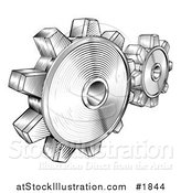Vector Illustration of Black and White Retro Gear Cogs by AtStockIllustration