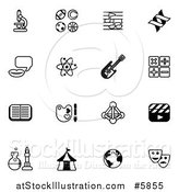 Vector Illustration of Black and White School Subject Icons by AtStockIllustration