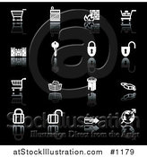 Vector Illustration of Black and White Secure Checkout Icons by AtStockIllustration