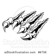 Vector Illustration of Black and White Sharp Claws Shredding Through Metal by AtStockIllustration